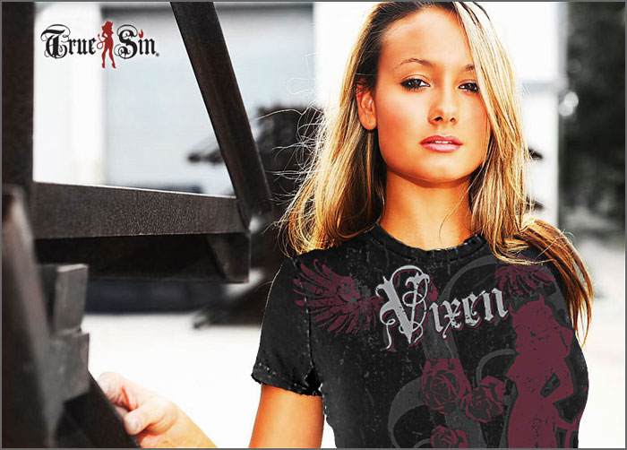 Erika wearing our Vixen baby tee